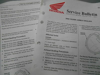 $9.99 • Buy Honda Air Box Sealing Factory Service Bulletin 2002 CR250R 9496-0111