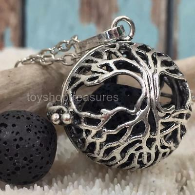 AU16.95 • Buy Tree Of Life Aromatherapy Diffuser Necklace Essential Oil Locket Black Lava Rock