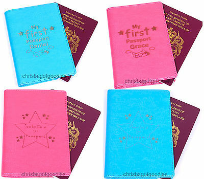 £16.50 • Buy PERSONALISED Faux Leather MY 1st FIRST Passport Cover Holder For Baby Girl Boy