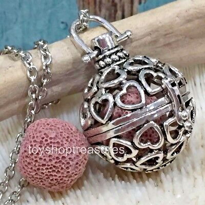 AU14.95 • Buy New Aromatherapy Diffuser Infinity Heart Necklace Essential Oil Pink Lava Stone