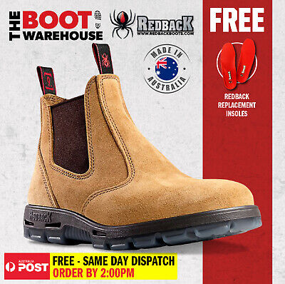 AU115.95 • Buy Redback Work Boots USBBA Steel Cap Safety. Elastic Sided Bobcat Banana Suede