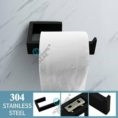 AU36 • Buy Toilet Paper Holder Tissue Roll Matt Black Square Stainless Steel Wall Mounted