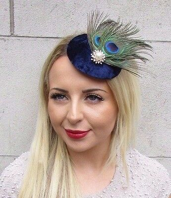 Navy Blue Green Peacock Feather Pillbox Hat Fascinator Hair Clip Races Vtg 3164 • 14.95£