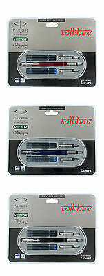 £11.11 • Buy Parker Vector Calligraphy Standard CT Fountain Pen Red Blue Black Body Free Ink