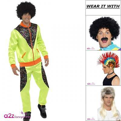 Mens Retro Shell Suit Neon Green Trackie 80s Adult Fancy Dress Costume Wig Tash • 19.99£