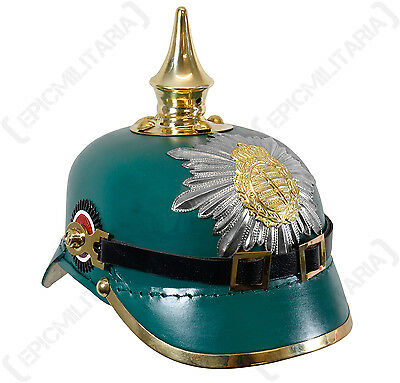 WW1 Saxony Green Leather Pickelhaube - Repro Soldier Helmet Hat Uniform Army New • 130.95£