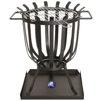 Patio Brazier Barbecue Grill Steel Chrome Finish Robust Garden Camping Bbq Party • 126.97£