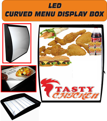 LED Curved Menu Box Illuminated Board Sign Restaurant Take Away 50 X 60 Cm • 165£