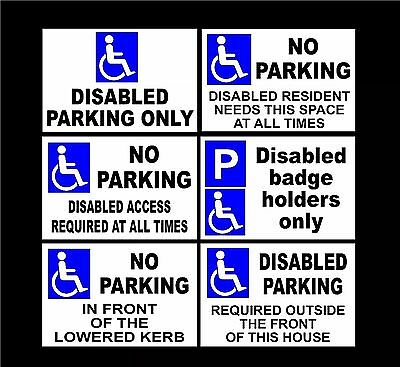 £2.89 • Buy Various Disabled Parking Signs Metal Or Plastic Holed 1mm-3mm Thick A5-A2 Size