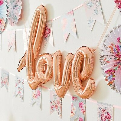 Rose Gold Love Balloon Banner - Wedding And Engagement Party Decorations • 4.45£