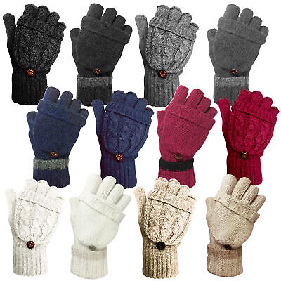 £5.99 • Buy Ladies Womens Cable Knit Soft Warm Winter Wool Blend Fingerless Gloves Mittens