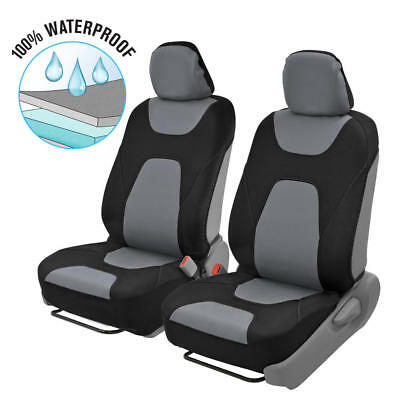 2pc Front Car Seat Covers 100% Waterproof Polyester/Neoprene Black/Gray 2Tone • 25.95$