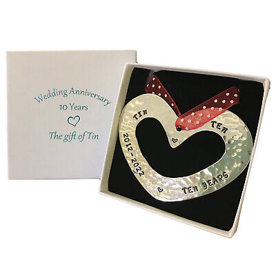 Petite 10th Anniversary Tin Gift.  Tin Heart Wall Hanging, Stamped 2011-2021 • 19.95£