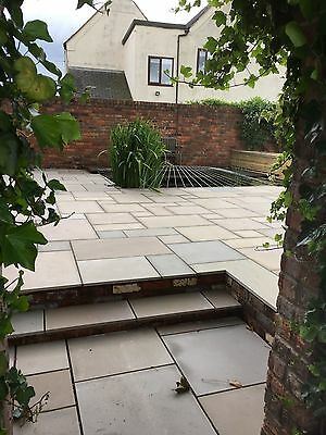 Sawn And Honed Raj Green Indian Sandstone Paving Patio Slabs. 20mm  • 22.50£