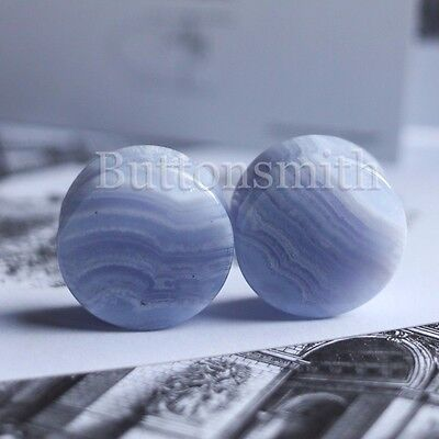 $13.60 • Buy Pair Of Blue Lace Agate Natural Organic Stone Plugs Gauges Ear  2g - 1   10 SIZE