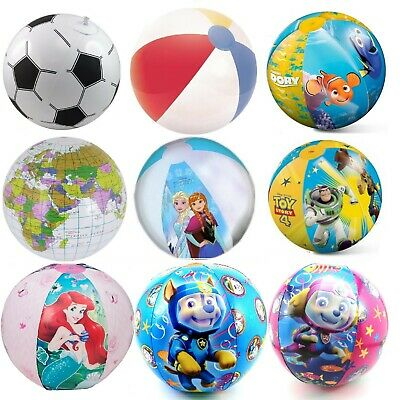 Inflatable Blow Up Kids Beach Ball Paw Patrol Princess Cars Giant Football &More • 5.99£