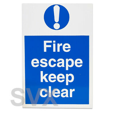 A4 Heavy Duty 'Fire Escape Keep Clear' Blue Rigid Plastic + Vinyl Sticker Sign • 1.49£