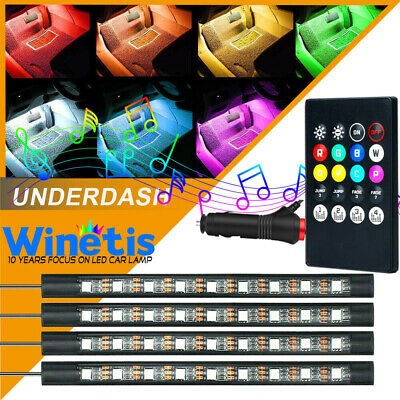 RGB Color Interior Bar Glow Dash Footwell Light 5050 LED Strip SMD Lamp Red Blue • 9.66$