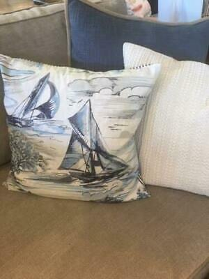 $49.99 • Buy Pottery Barn Set/2 SAIL BOAT BLUE STRIPE PILLOW COVER Nautical Coastal Christmas