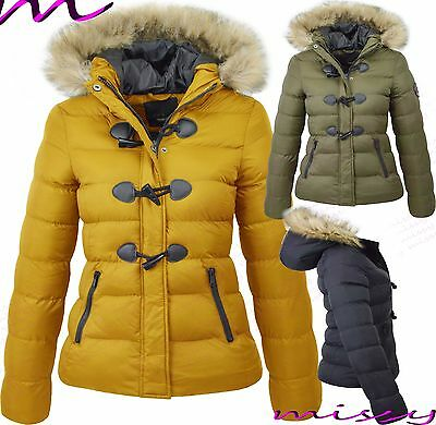 NEW WOMENS LADIES QUILTED WINTER COAT PUFFER FUR COLLAR HOODED JACKET PARKA Wizz • 24.99£
