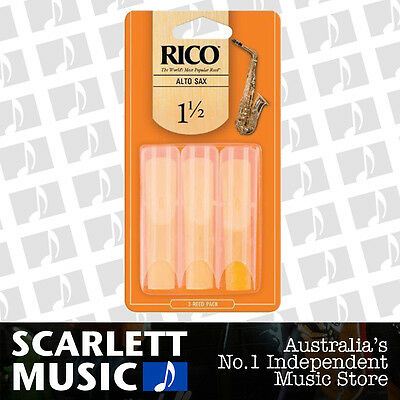 AU15.75 • Buy Rico Alto Sax Eb Saxophone 3 Pack Reeds Size 1.5 ( 1 1/2 - One And A Half ) 3PK