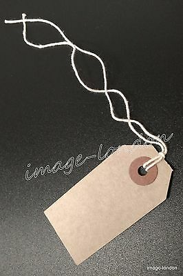 Manila Brown Buff Strung Tie On Tags Labels Retail Luggage Tags With String • 1.49£