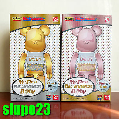 $549.99 • Buy Medicom 200% Bearbrick ~ My First Be@rbrick Baby Pink Gold & Gold Silver 2p