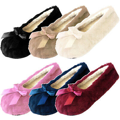 Ladies Womens Winter Ballerina Style Slippers Cosy Fleece Lining Grip Soles Bow • 4.75£