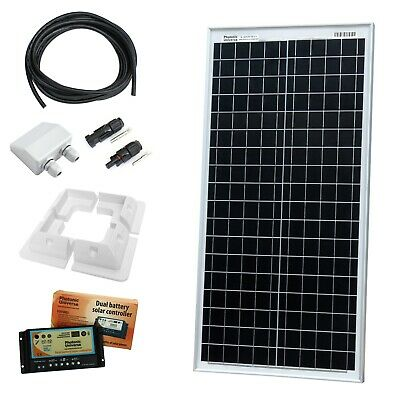 40W 12V Dual Battery Solar Panel Charging Kit With Controller & Brackets 40 Watt • 147.99£