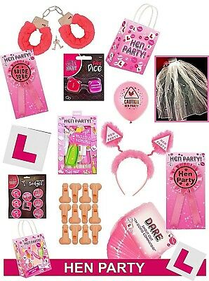 HEN NIGHT PARTY ACCESSORIES Sashes/balloons/head Boppers/photo Props/games Ect • 0.99£
