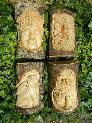 Wooden Carvings - Hand Carved Half Tree Logs - Assorted Designs • 14.99£