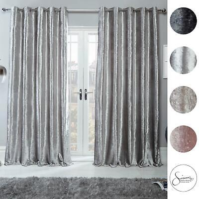 Sienna Crushed Velvet Curtains PAIR Of Eyelet Ring Top Fully Lined Ready Made • 26.99£