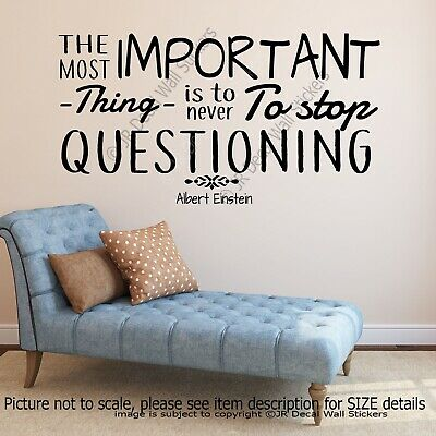 Never Stop Questioning- Einstein Inspirational Quote Wall Art, Nursery Stickers, • 14.99£