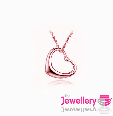 Rose Gold Plated Simple Open Heart Pendant Necklace Chain Womens Ladies Gift • 3.79£