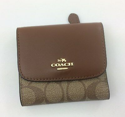 a56bbdf1e1b9 New Authentic Coach F87589 F53837 Small Wallet PVC With Leather Khaki Saddle  • 49.90