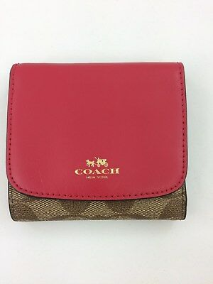 3dffd5932049 New Authentic Coach F53837 Small Wallet Signature PVC And Leather Bright  Pink • 44.47