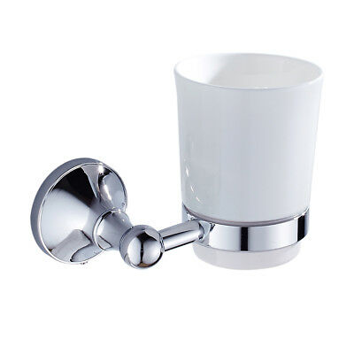 Washroom Toothbrush Tumbler Holder With Ceramic Single Cup Wall Mount Chrome • 12.68£