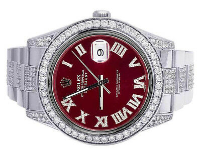 $ CDN17334.18 • Buy Mens Rolex Datejust II 116300 Red Roman Dial Iced 41MM Diamond Watch 10.5 Ct