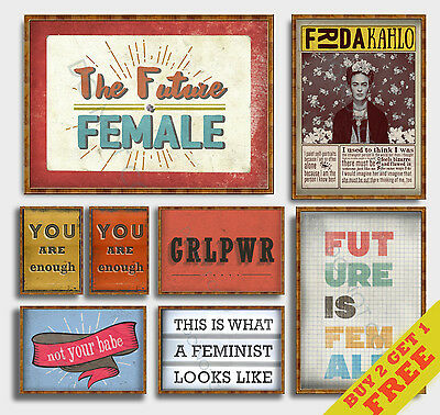 FEMINIST POSTERS, Inspirational Quote Wall Art Prints, A3 A4 Motivational Poster • 3.49£