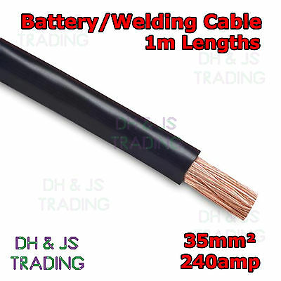 1m Black Battery Welding Cable 35mm² 240a Flexible Marine 0AWG 0 Gauge Earth OFC • 5.99£