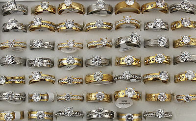 $ CDN30.21 • Buy Mixed Lots 25pcs Stainless Steel Rhinestone Cz Wedding Silver/Gold Top Rings