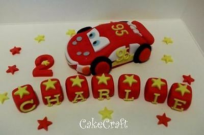Lightning Mcqueen Pixar Car Handmade Edible Birthday Cake Decorations Toppers • 11.69£