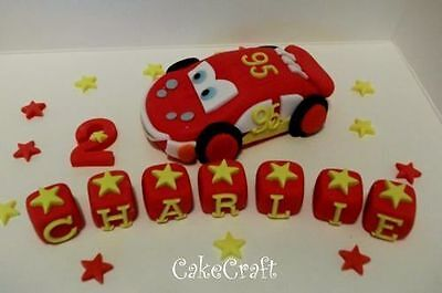 Lightning Mcqueen Racing Car Handmade Edible Birthday Cake Decorations Toppers • 11.69£