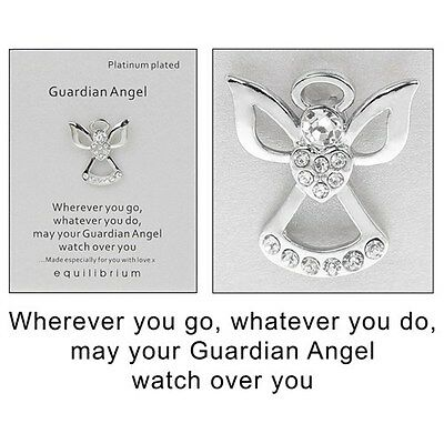 £5 • Buy Equilibrium Platinum Plated Guardian Angel Watch Over You Pin Brooch   54483