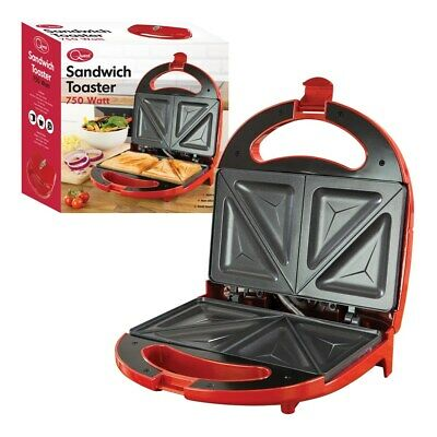 Sandwich Maker Toaster Toastie Maker Panini Press Health Grill Griddle RED NEW • 14.99£