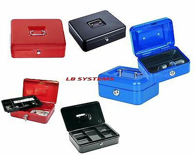 Petty Cash Box Money Bank Deposit Steel Tin Security Safe With 2 Keys & Tray NEW • 7.45£