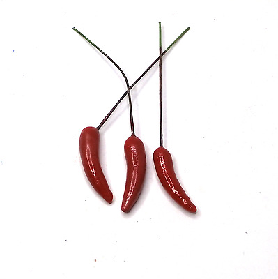 50 PCS Artificial 35mm Chilies On Wire Artificial Fruit On Wire Artificial Berry • 11.99£