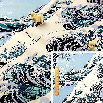 BLUE Meter/Fat Quarter/FQ Cotton Fabric Japanese The Great Wave Off Kanagaw WIDE • 3.49£
