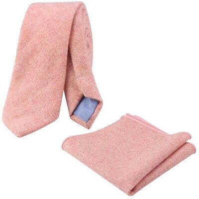 New Country Soft Pink Skinny Wool Tie & Pocket Square Set. Great Reviews. UK. • 17.50£