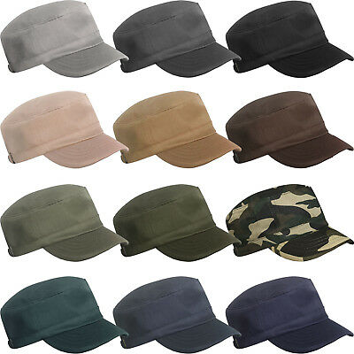£3.99 • Buy Mens Ladies Womens Girls Military Army Style Cap Plain Cotton Cadet Combat Hat